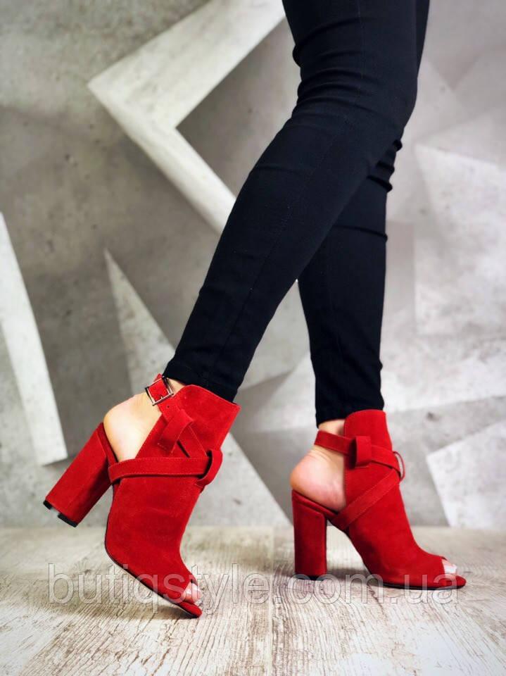 37 размер Женские красные высокие босоножки Lady натуральная замша
