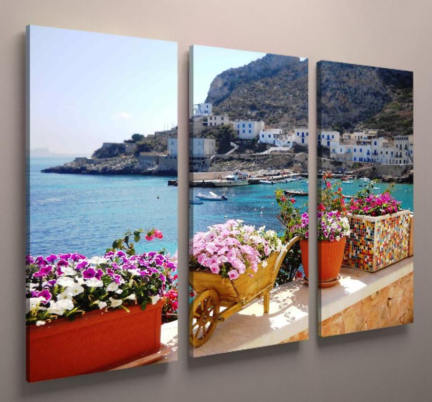 Модульная картина природа красивый пейзаж море Италия 90х60