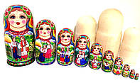Матрешки большие 27 см, 10 шт красивой ручной росписи, Оригинальный подарок в украинском стиле