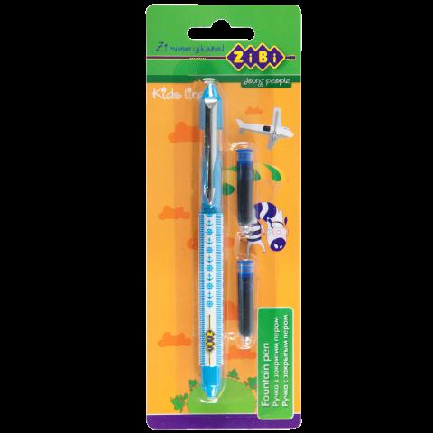 Ручка с закрытым пером + 2 патрончики, картонная блистер, голубой корпус
