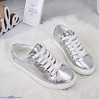 Кожаные кеды на шнуровке 36-40 р серебро, фото 1