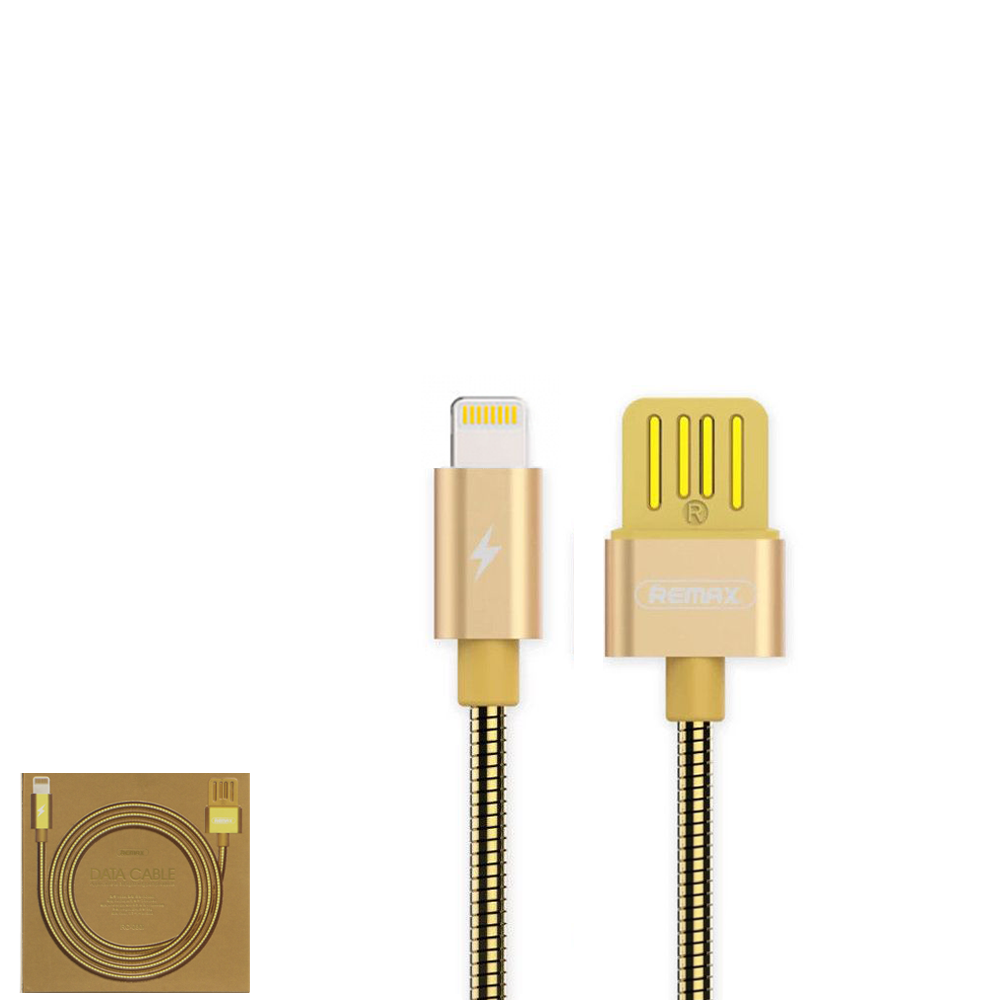 USB Data кабель Remax Tinned copper RC-080i Lightning 1m Gold