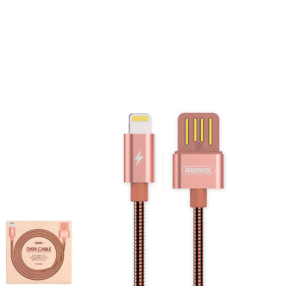 USB Data кабель Remax Tinned copper RC-080i Lightning 1m Rose Gold