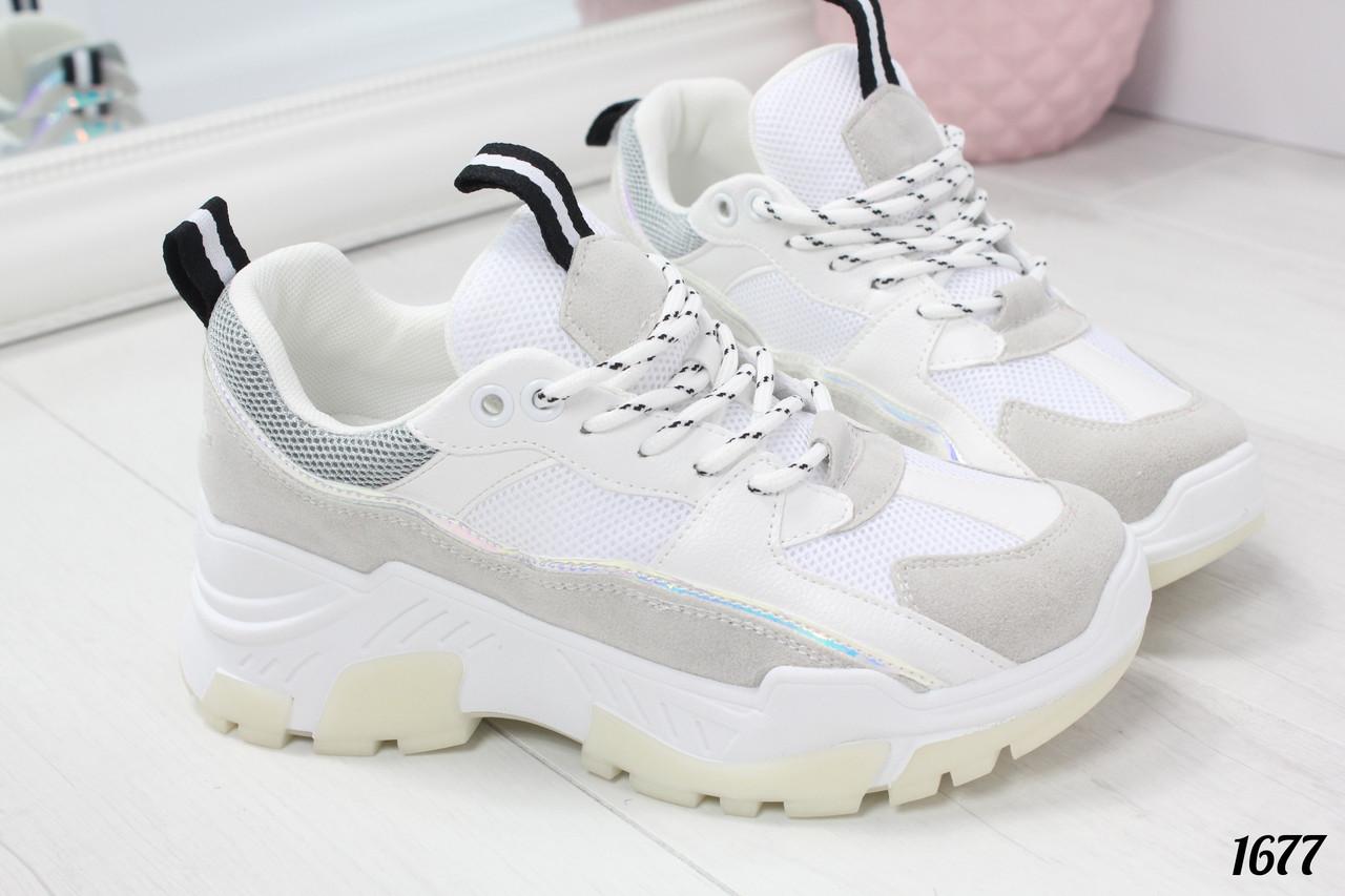 0036bffcb Стильные кроссовки женские белые с серым эко-кожа+ эко-замш+текстиль ...