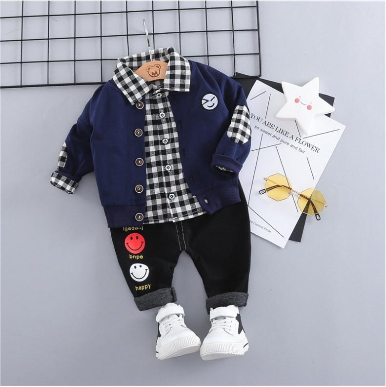 Стильный костюм тройка на мальчика  3-4 года  кофта+рубашка+штаны  сине-черный