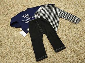 Стильный костюм тройка на мальчика  3-4 года  кофта+рубашка+штаны  сине-черный, фото 2