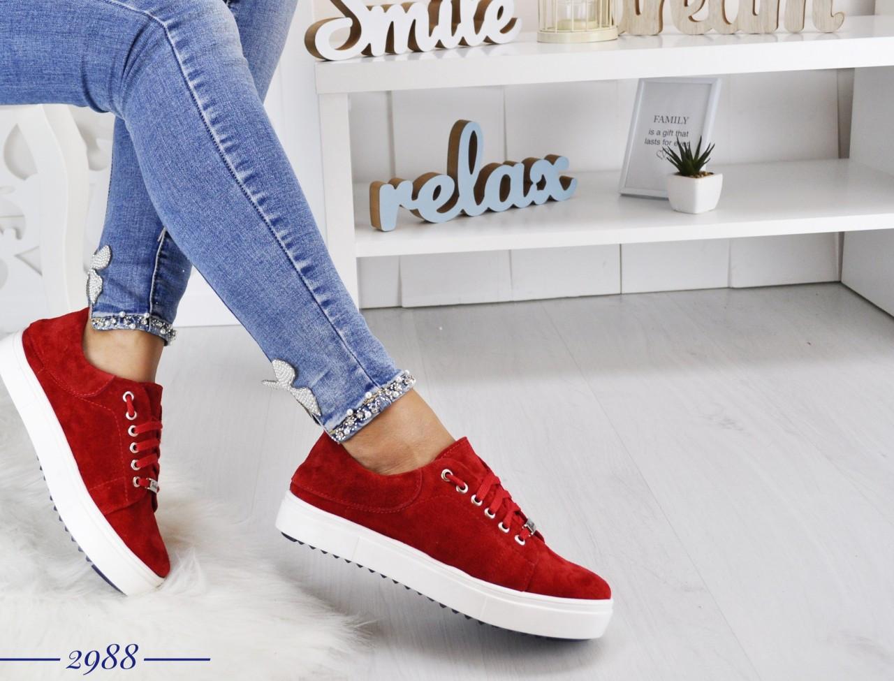 Замшевые кеды на шнуровке 36-40 р красный