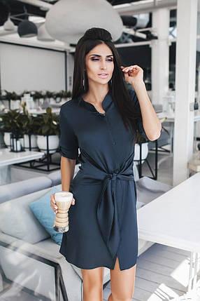 """Короткое шелковое платье-рубашка """"Омега"""" с длинным рукавом (3 цвета), фото 2"""