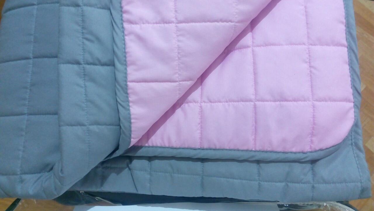 Покрывало Вилюта Дуэт стеганное микрофибра серый/розовый 140*210