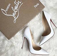 Белые туфли-лодочки, копия Christian Louboutin, КОЖА
