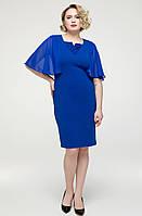 Платье больших размеров женское летнее батальное креп дайвинг и шифон с гипюром, однотонное синее