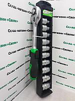 Набор накидных головок + трещетка 8-19мм (11 единиц). Intertool ET-6013.