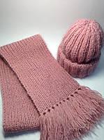 Шапка и шарф (60% шерсть, мохер) - розово-пудровый