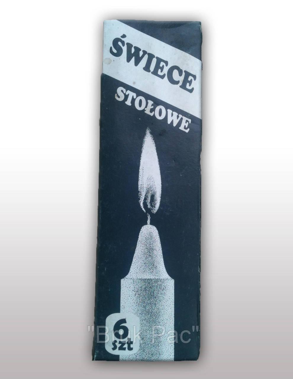 Свечи столовые белые (Польша) 6 шт