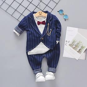 Нарядный костюм тройка на мальчика синий в полоску с бабочкой 1-4 года