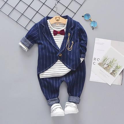 Нарядный костюм тройка на мальчика синий в полоску с бабочкой 3-4 года, фото 2