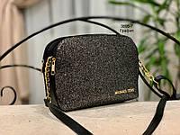 Женская сумка MICHAEL KORS черная с декором из глиттера/пудра, графит,черный, серебро/