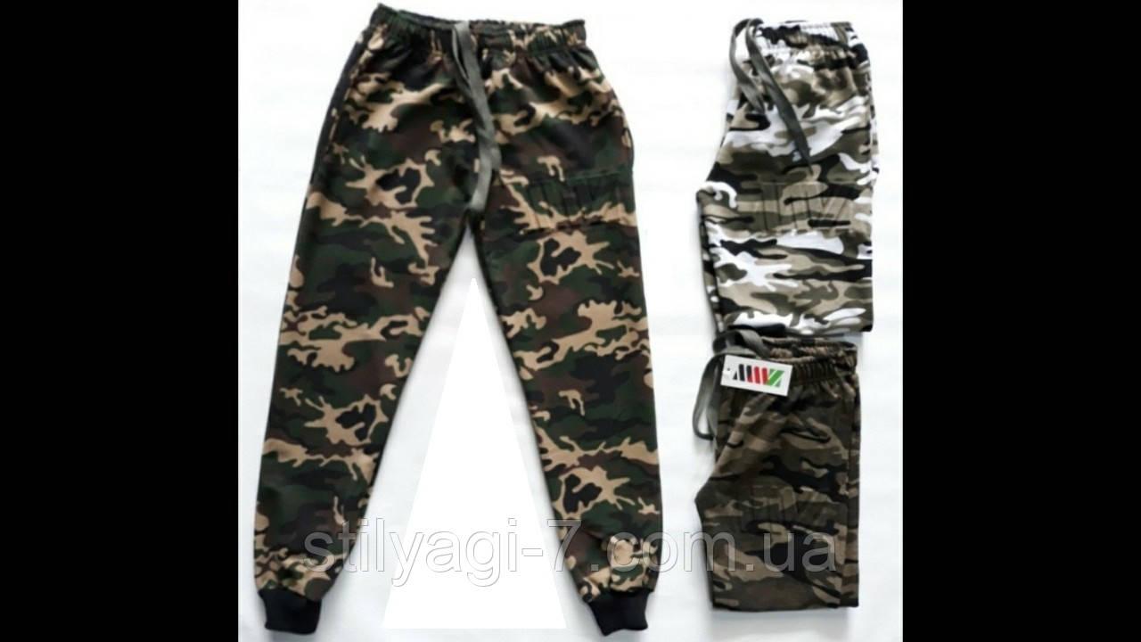 Спортивные штаны для мальчика на 13-16 лет защитного цвета манжете оптом