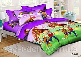 Детское постельное белье ранфорс 150*215 см, Щенячий патруль (фиолетовый), полуторное постельное белье