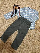 Костюм двойка нарядный на  мальчика нарядный с подтяжками 3-4 года голубой, фото 3