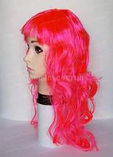 Парик карнавальный розовый, волнистый (50 см), фото 3