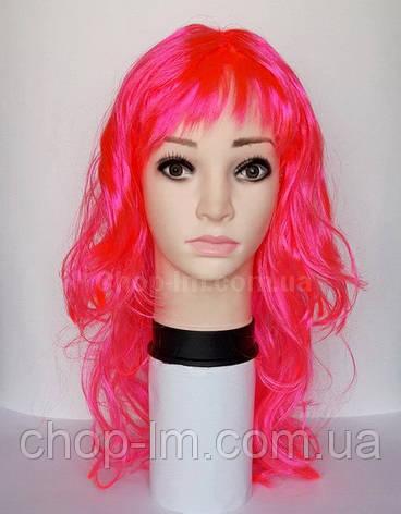 Парик карнавальный розовый, волнистый (50 см), фото 2