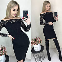 Элегантное облегающее платье с кружевным верхом чёрное 42-44 46-48, фото 1
