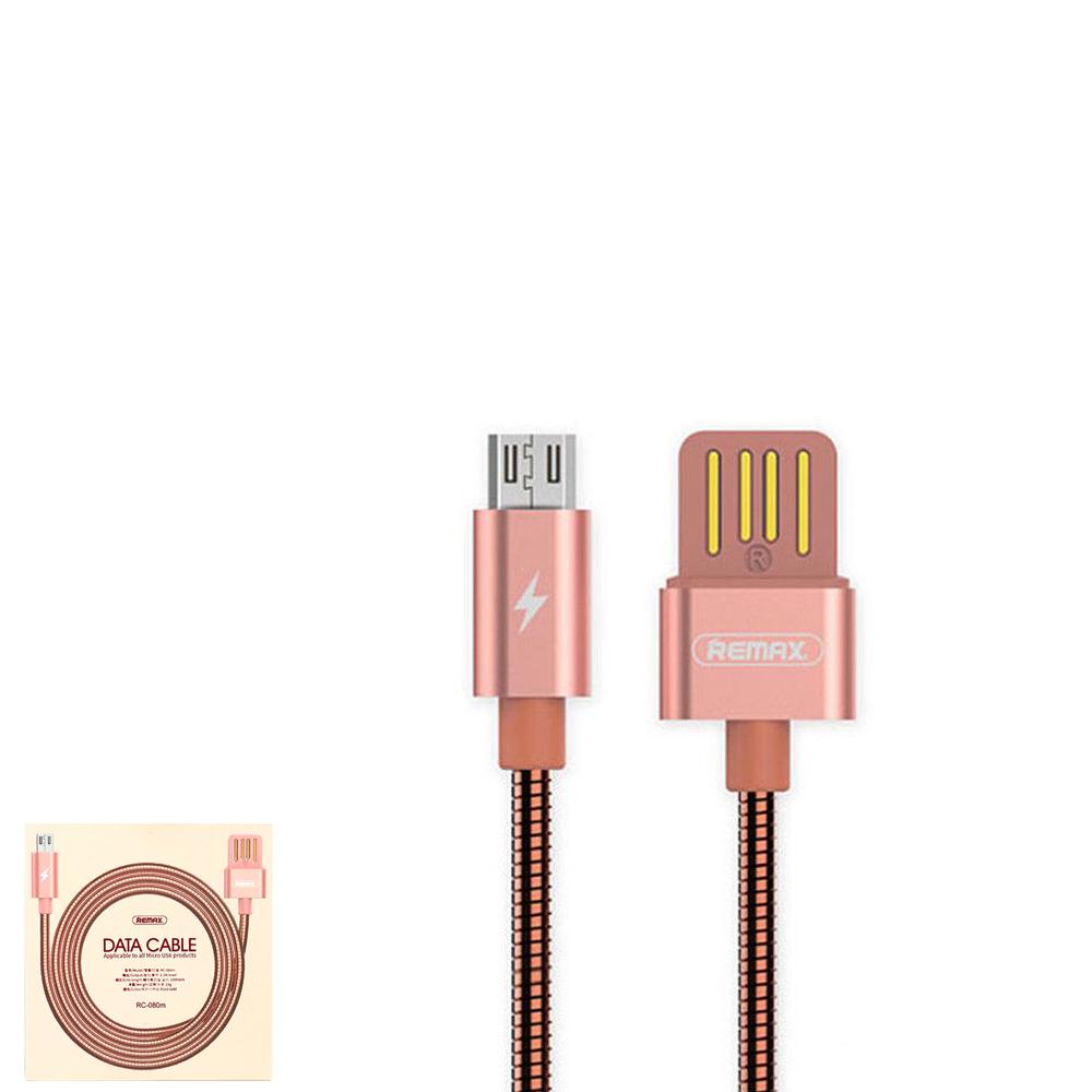 USB Data кабель Remax Tinned copper RC-080m MicroUSB 1m Rose Gold