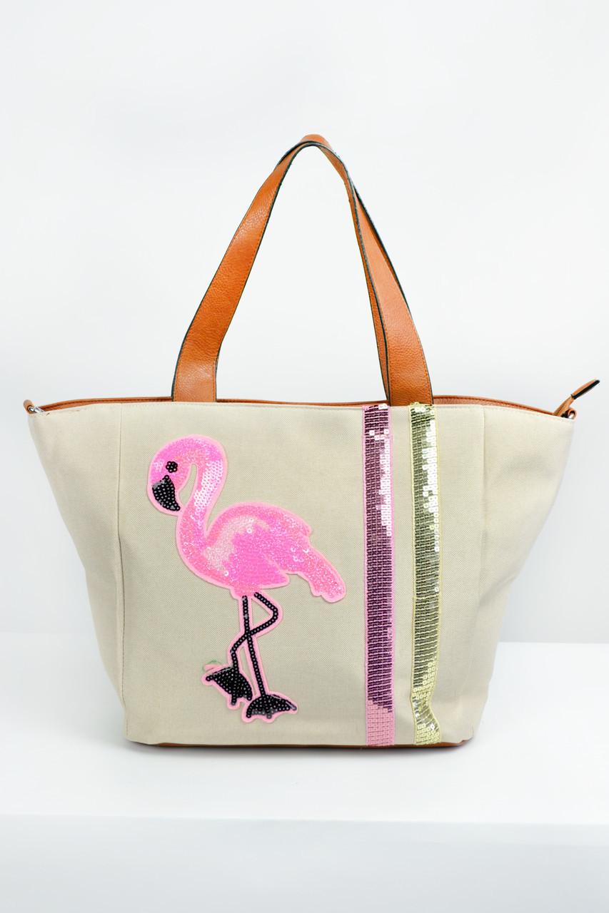 73dcb254a8bc Пляжные сумки Famo Пляжная сумка Фламинго молочная 45х16 см - OVI Store ваш  online супер маркет