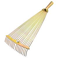 Грабли веерные проволочные раздвижные желтые усиленные без ручки