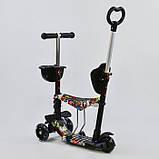 Самокат-беговел 5в1 Best Scooter 34760 с родительской ручкой и сиденьем, подсветка колес, фото 2