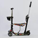 Самокат-беговел 5в1 Best Scooter 34760 с родительской ручкой и сиденьем, подсветка колес, фото 3