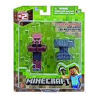 Деревенский кузнец и наковальня фигурка Майнкрафт Minecraft Blacksmith Villager оригинал Jazwares