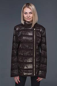 Женская кожаная куртка с накатом L-5XL