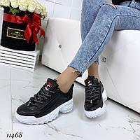 Кроссовки женские кожаные черные, фото 1
