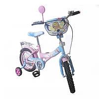 """Детский велосипед TILLY """"Чарівниця""""T-21426 pink + blue,14 дюймов, с страховочными колёсами"""
