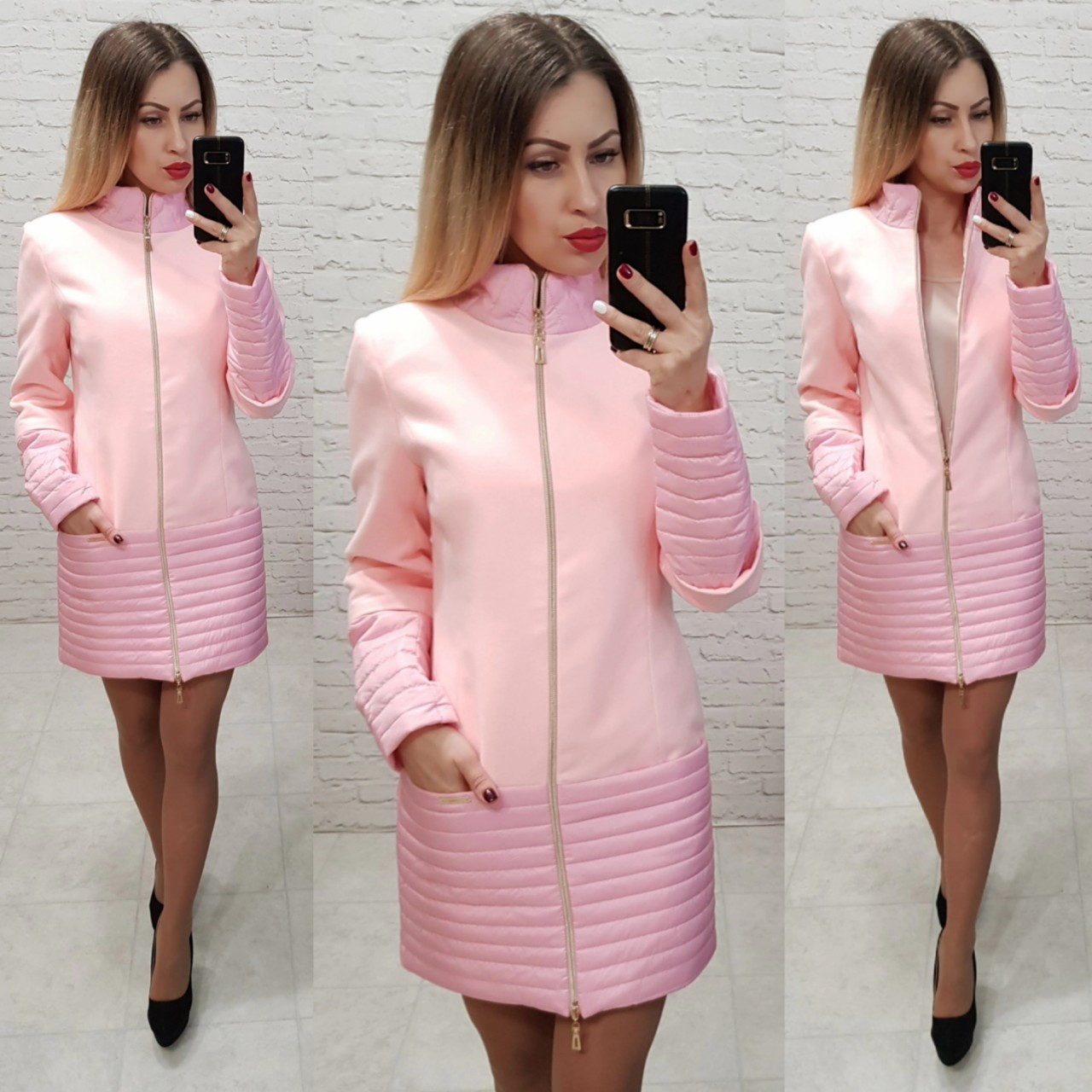 Пальто, арт 137, ткань эко-кашемир + плащевка, цвет розовый
