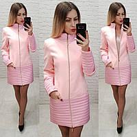 Пальто, арт 137, ткань эко-кашемир + плащевка, цвет розовый, фото 1