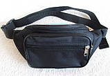 Надежная сумка на пояс или через плечо бананка поясная удобная мужская женская барсетка в2900 черная, фото 3