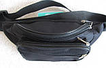 Надежная сумка на пояс или через плечо бананка поясная удобная мужская женская барсетка в2900 черная, фото 4