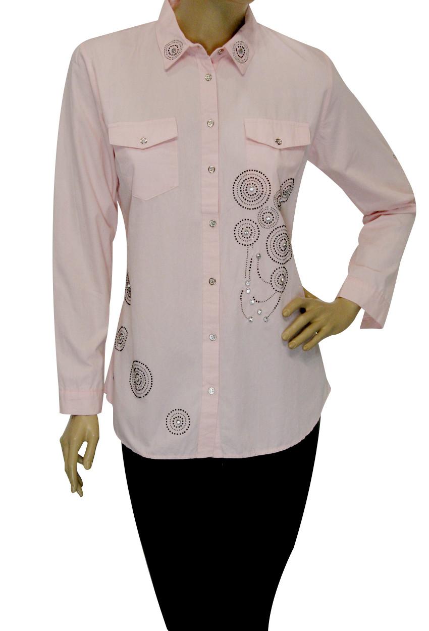 Женские рубашки из штапеля с стразами