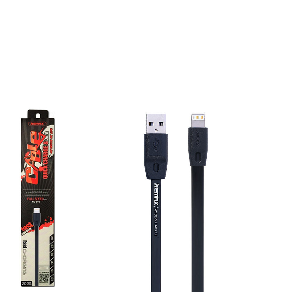 USB кабель Remax Full Speed RC-001i Lightning 2m Black