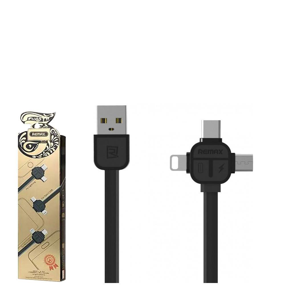 USB кабель Remax Lesu 3 in 1 RC-066th Lightning & Micro USB & Type-C  1m Black