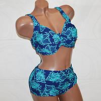 Самый модный купальник на лето для пышных женщин, синий с бирюзовыми цветами, размер  9XL (64)
