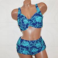 Модный синий купальник с растительными узорами шикарным женщинам, размер 7XL (60)