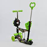 Самокат-беговел 5в1 Best Scooter 55940 з батьківською ручкою і сидінням, підсвічування коліс, фото 2