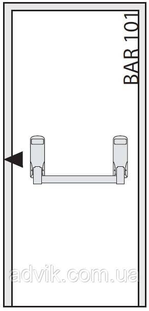 Ручка Антипаника Geze IQ Bar 101 для 1-створчатой двери с горизонтальным 1-точечным запиранием*