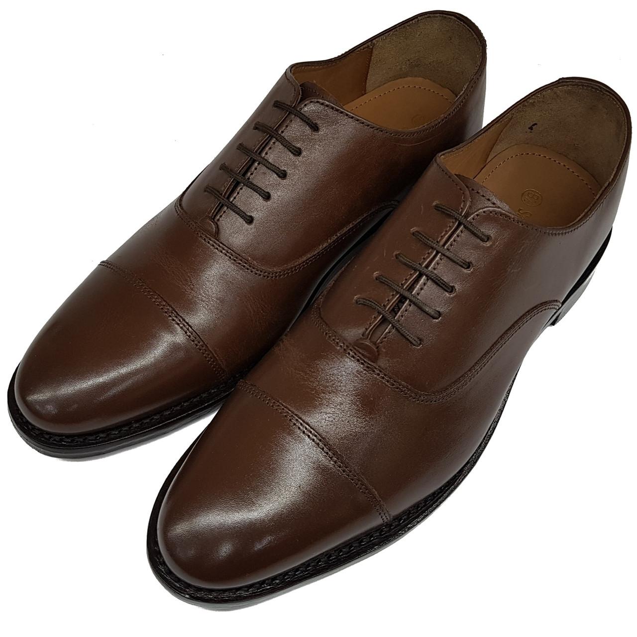 Мужские кожаные туфли ручной работы Samuel Windsor коричневые SH0021/21