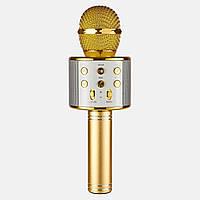 Микрофон караоке беспроводной с Bluetooth, USB Wster- 858 золотой, фото 1