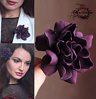 """Заколка/брошь цветок """"Гардения бургунди"""". Оригинальный подарок девушке, фото 1"""
